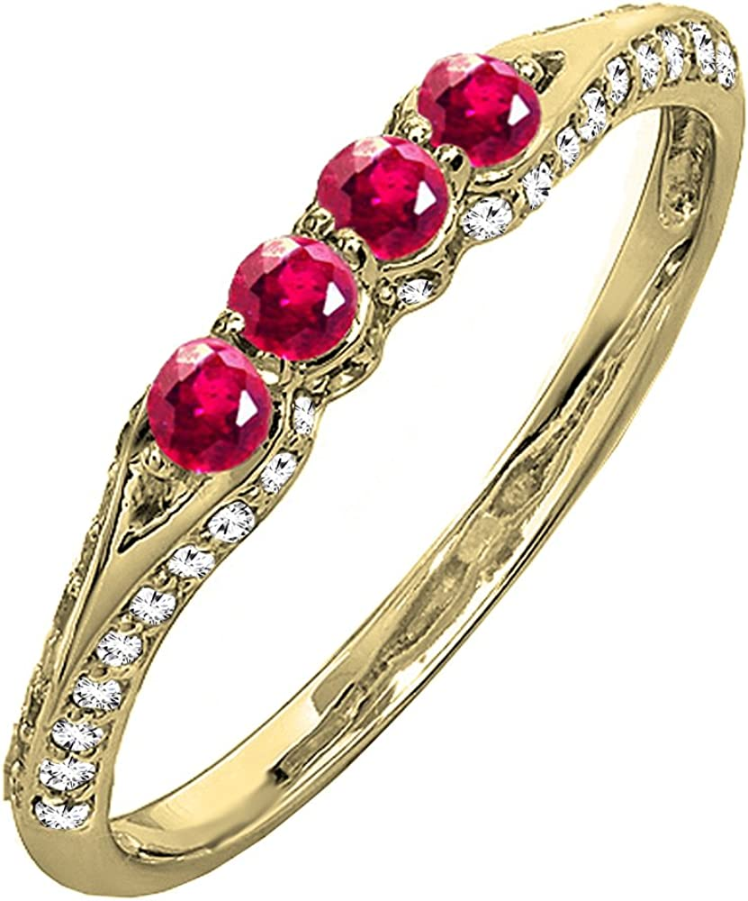 Dazzlingrock Collection 10K Gold Round Ruby & White Diamond Ladies Anniversary Wedding Band Stackable Ring