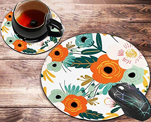 Round Mouse Pad and Coasters Set, Orange Flowers Pattern Design Round Mousepad, Anti Slip Rubber Round Mousepads Desktop Notebook Mouse Mat for Working and Gaming
