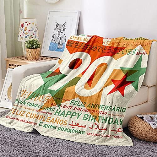 Estrella de Cinco Puntas Manta para Sofa 3D Feliz cumpleaños 90 Reversible Manta Estampata Cálida y Suave Manta de Oficina Mantas sólida para Cama sofá 180x200cm