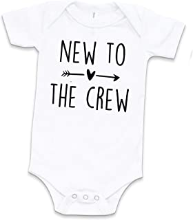 Cousins New to The Crew Newborn One Piece Pregnancy Announcement White