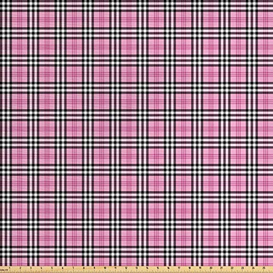Lunarable Plaid Fabric by The Yard, Feminine Pink Tartan English Women Fashion Celtic Checkered Striped Classical, Decorative Fabric for Upholstery and Home Accents, 1 Yard, Pink Black White nbx8000124