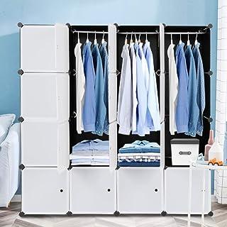 Armoire Penderie Modulable Portable Grande Capacité Storage avec Portes Étagère de Etagères Empilables Plastique Rangement...