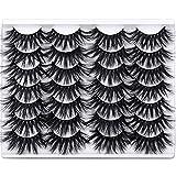 Newcally 25MM False Eyelashes Dramatic Long Thick Faux Mink Lashes 14 Pairs Fluffy 3D Eye Lashes Multipack