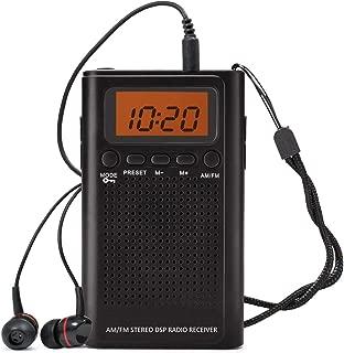 Horologe Portable Pocket Handy AM/FM Radio-Battery Operated, Sleep Timer, Preset, Earphone Jack, Powered by 2 AAA Batteries …, Black with Earphone