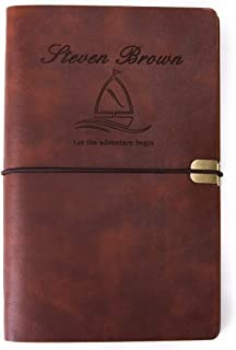 Personalized Leatherette Journal Monogrammed Wide Ruled Soft Cover Writing Notebook Refillable Loose-Leaf 6-Ring Binders Banded Custom Personal Diary(A6-Brown)