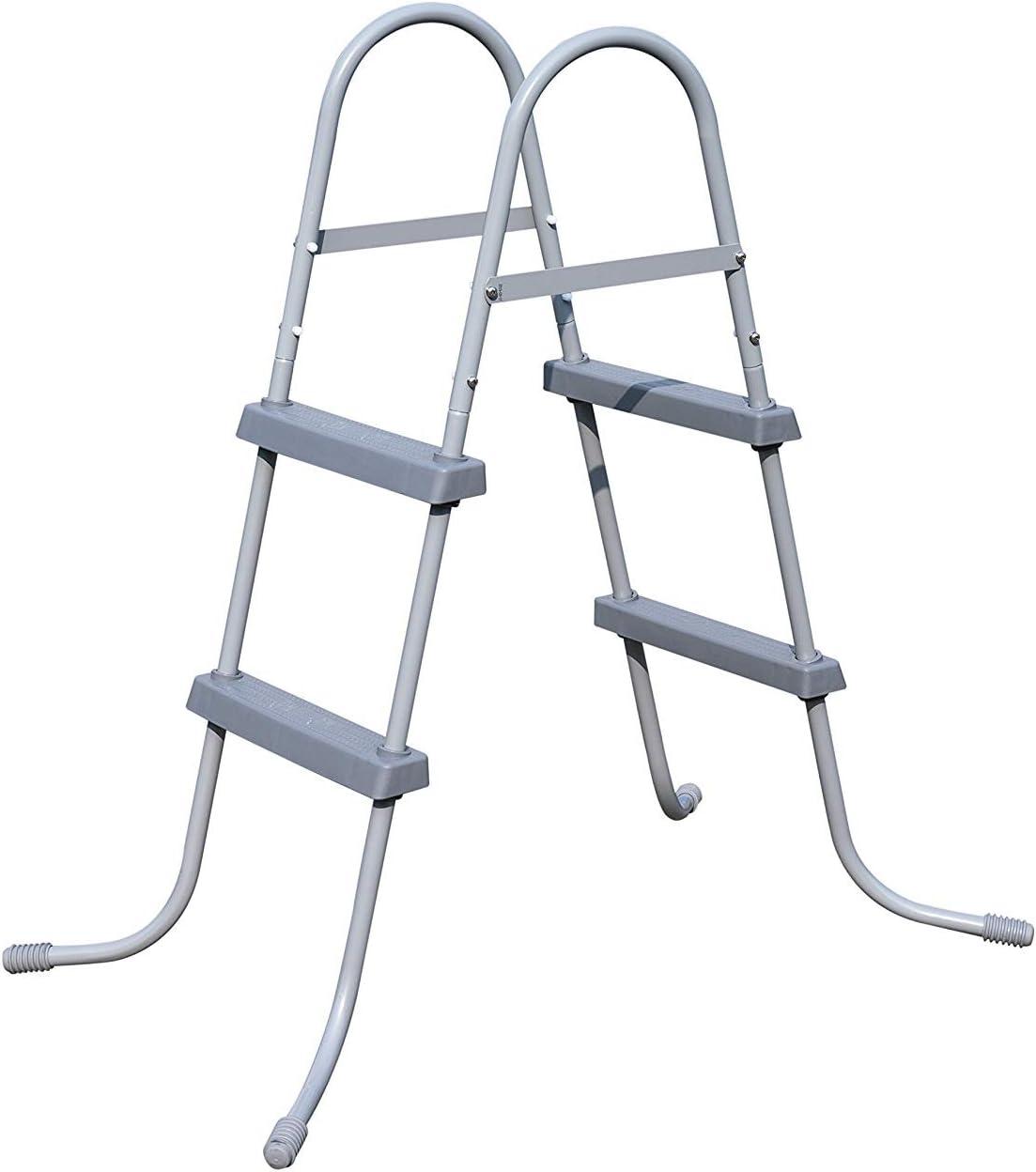 BEST.WAY Escalera para piscina exterior, altura 84 cm 33 pulgadas, estructura de metal 58430