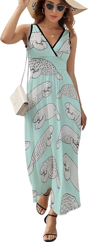 Yiaoflying Women's Beach Maxi 40% OFF Cheap Sale Dress - Funny Neck Sleeve V Omaha Mall Dugong
