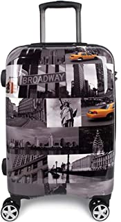 Luggage 20 Inch Carry On with Spinners Hard Case Rolling Upright Suitcase TSA Lock America New York Cityscape Graphic Print ABS+PC