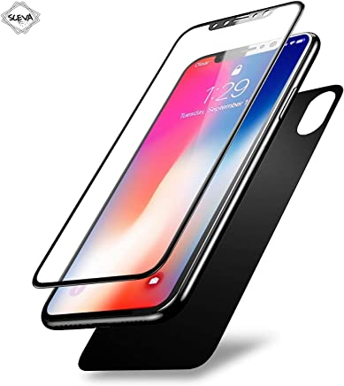 Sceva Present 5D Round Curved Edge Tempered Glass Front+Back Screen Protector for iPhone X (Ten) (Black)