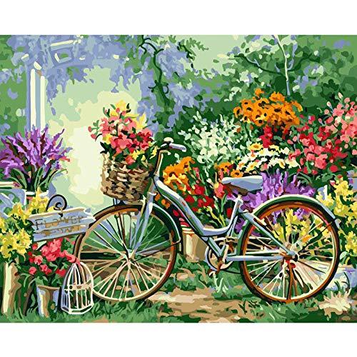 Pintura por Números Bicicleta de canasta de flores DIY para Adultos Niños Pintura al óleo Kit con Pinceles y Pinturas Lienzo Regalo de Pintura Decoraciones para el Hogar(40 x 50 cm Sin Marco)