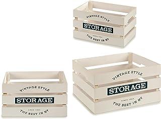 TU TENDENCIA ÚNICA Juego de 3 Cajas de Madera Vintage Modelo Storage. Tres Tamaños Diferentes. Ideal como Decoración (Madera Blanca)
