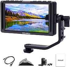 FEELWORLD F5 - Monitor de Campo para cámara réflex Digital de 5 Pulgadas, tamaño pequeño Full HD 1920 x 1080 IPS Video Peaking Focus Assist con Salida 4K HDMI 8.4V CC, Incluye Brazo de inclinación