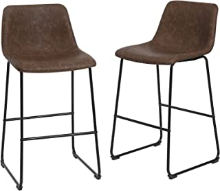 SONGMICS Set of 2 Stools, Mid-Century Modern Bar Chairs with Metal Legs, 28'', Retro Brown and Black