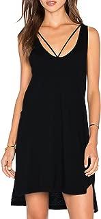 Dohia Women's Summer Sleeveless T Shirt Dress Criss Cross Neckline Casual Swing Tank Top Cotton Dresses