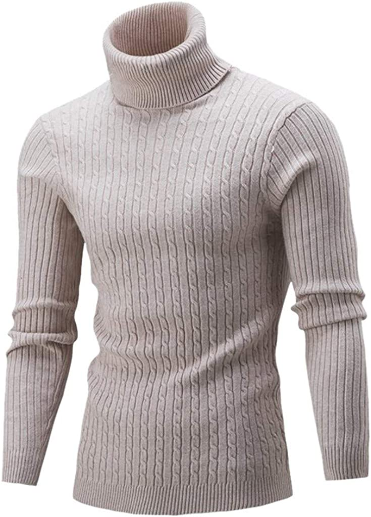 Men's Sweater Turtleneck Long Sleeve Knitted Sweater Top for Autumn Winter