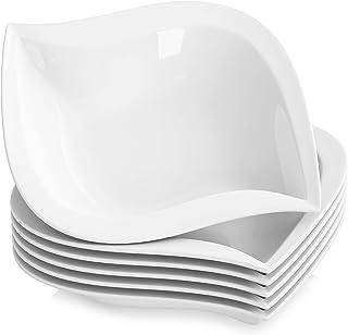 MALACASA, Série Elvira, 6pcs Assiettes Creuses Porcelaine, Assiettes à Soupe Pâte Vaisselles pour 6 Personnes