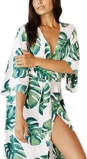 Women Sexy Print Open Front Kimono Cardigan Loose Beach Cover Up Dress