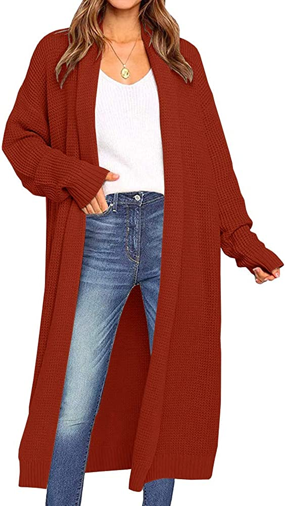 Chang Yun safety Women's Maxi Cardigan Duster O trend rank Chunky Long Sleeve Knit