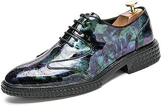 Sygjal Men's Oxfords Flat Heel Lace Up Pointed Toe Patent PU Leather Shoes (Color : Purple, Size : 43 EU)