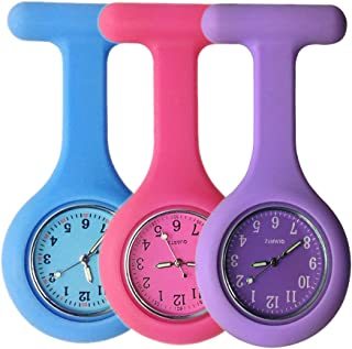 Set of 3 Nurse Watch Brooch, Silicone with Pin/Clip, Glow Pointer in Dark, Infection Control Design, Health Care Nurse Doctor Paramedic Medical Brooch Fob Watch - Blue Pink Purple