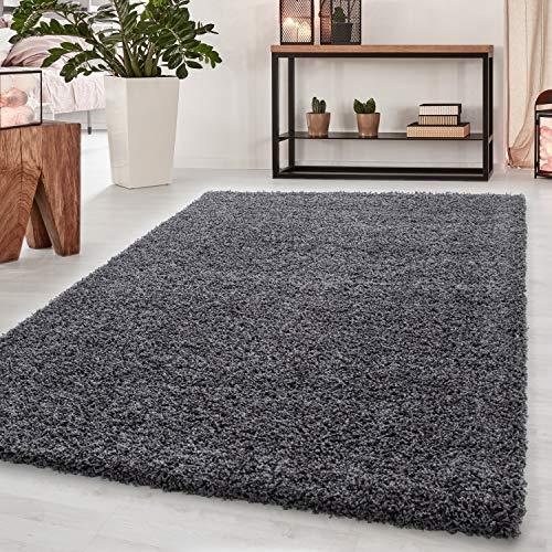 Teppich Hochflor Teppich Dream Shaggy Teppich einfarbig Wohnzimmer Teppich, Farbe:Grau, Maße:80 cm x 150 cm