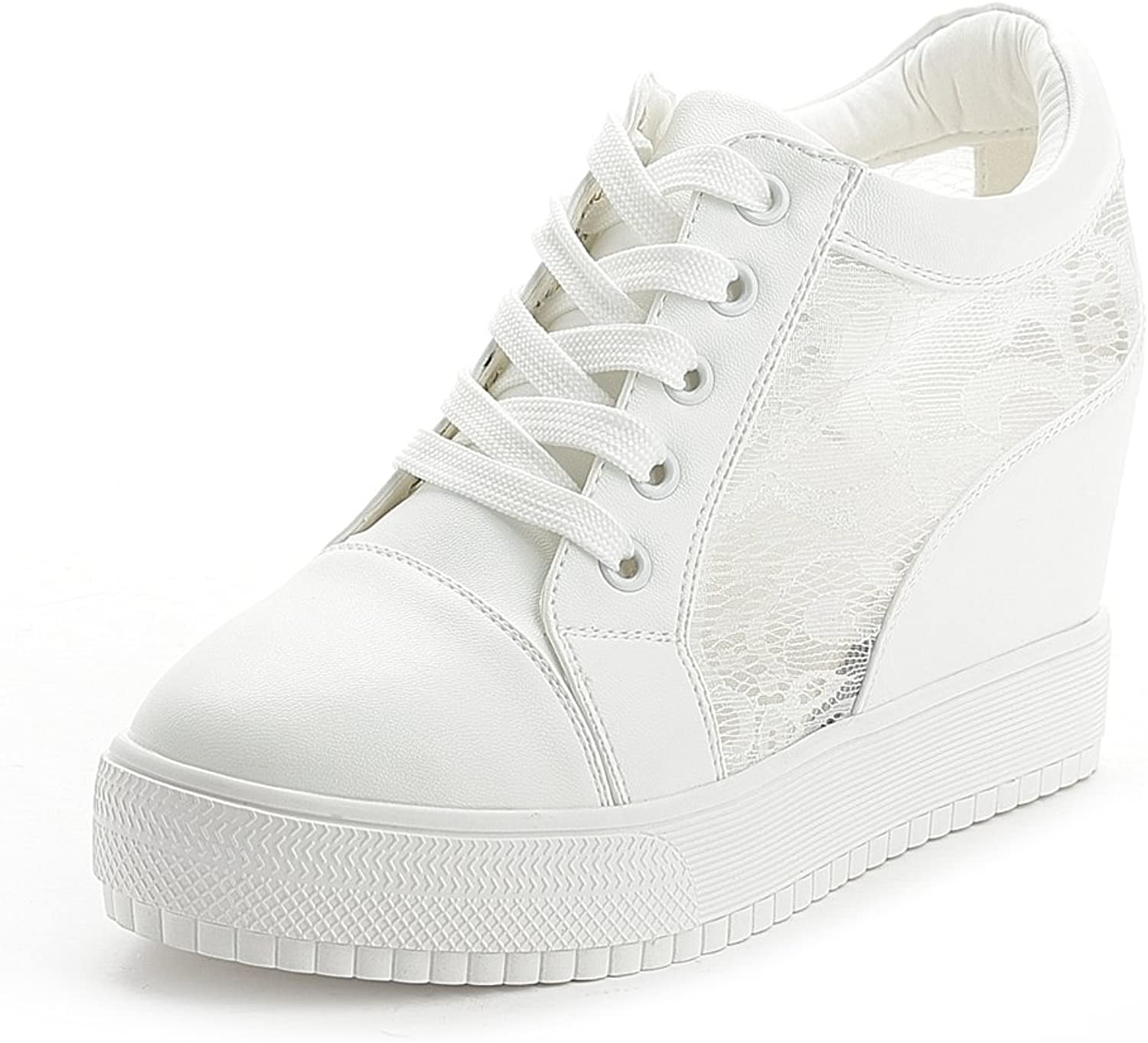 GIY Women Fashion Laces Low Top Lace-up Wedge Sneakers Platform Increased Height Casual Sports shoes