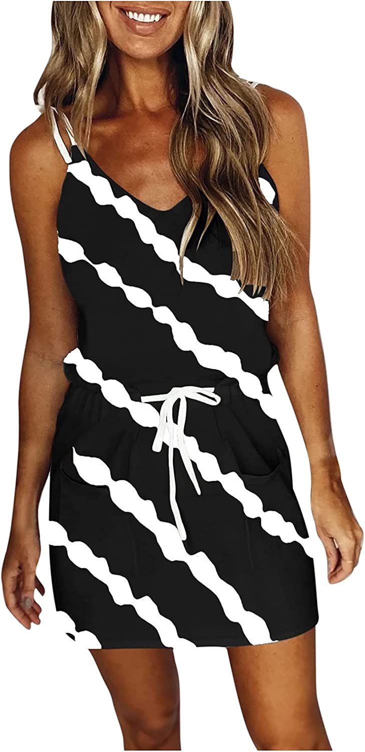 Factory outlet Stripe Printing Dresses Max 57% OFF for Women Casual St Sleeveless Spaghetti