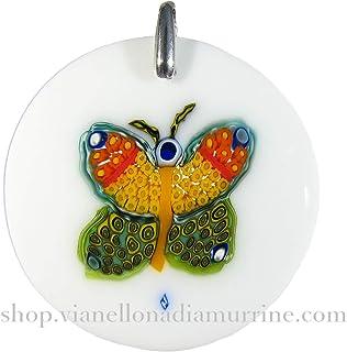 Murrina Pendente Farfalla in vetro di Murano montatura argento 925