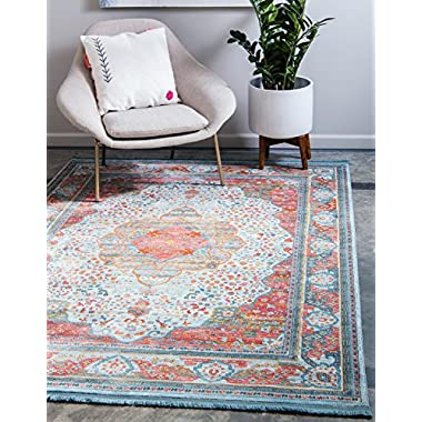 Unique Loom Baracoa Collection Bright Tones Vintage Traditional Light Blue Area Rug (8' x 10')
