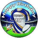 AK Giftshop Decoración redonda para tarta de cumpleaños de rugby personalizada, 20 cm, diseño de Brumbies