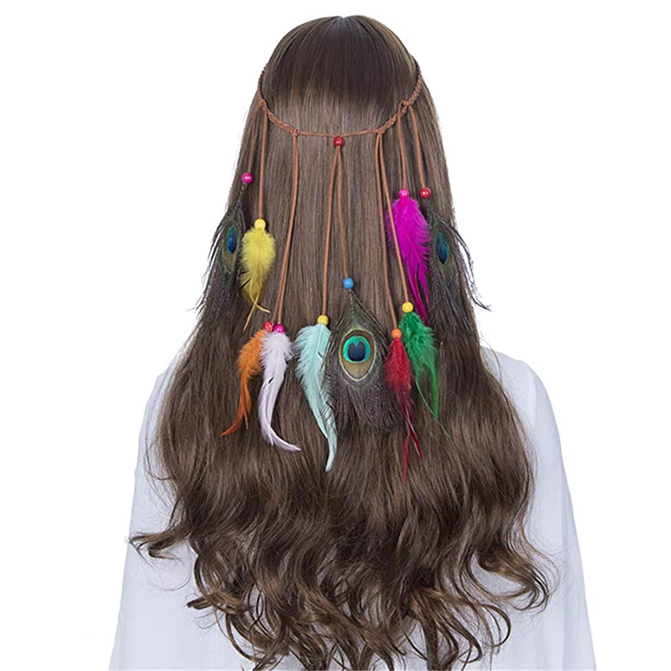 Headbands For Women Indian Feathers Headband Fashion Boho Girls Festival Beads Gypsy Feather Hair Accessories 8090
