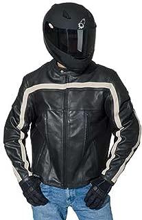 Joe Rocket Old School Retro Leather Motorcycle Jacket - Black/Ivory - LG