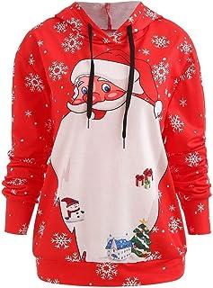 a7b22f49ce784 Huixin Sweat À Capuche De Noël Mesdames Père Sweats Vêtements Noël Imprimé  À Capuche Décontracté Loisir