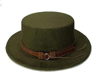 Elegant Hats Women Men Vintage Wool Wide Brim Cap Pork Pie Porkpie Bowler Hat Coffee Leather Band by Original Design Natural Caps (Color : Green, Size : 57-58CM)