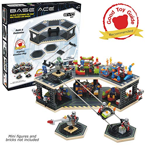 Base Ace 3D Play Platform for Minifigures EVO Kit Construction Toy for Mini Figures, Green Lines, Compatible with Major Brick Brands