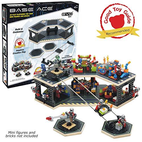Base Ace 3D-Spielplattform für Mini-Figuren, EVO-Kit mit grünen Linien, Kompatibel mit Allen führenden BAU-Spielzeug-Baustein-Marken