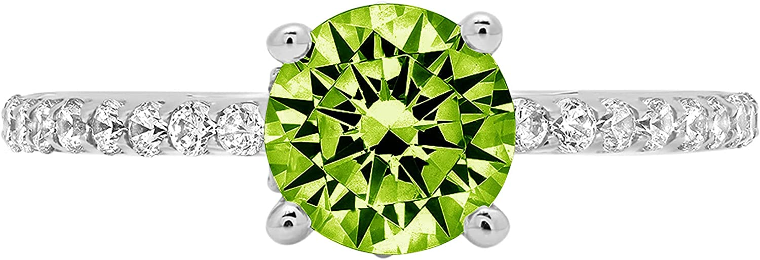 1.54ct Brilliant Round Cut cathedral Solitaire Genuine Flawless Natural Green Peridot Gemstone Engagement Promise Statement Anniversary Bridal Wedding Accent Ring Solid 18K White Gold