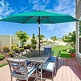MOVTOTOP Patio Umbrella 9Ft UPF 50+ Premium Outdoor Table Umbrella, Market Umbrella with Push Button Tilt and Crank for Garden, Deck, Backyard, Pool (C-Green)