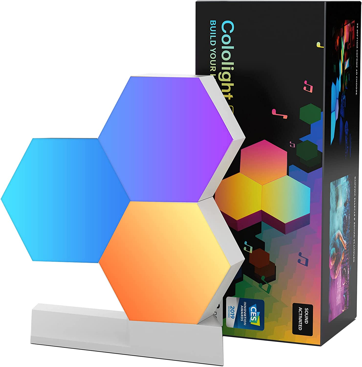 Cololight Hexagon LED Light Works with Alexa, Google Assistant, APP Controlled WiFi Smart RGB Light Panels, Cololight Geometric Lamp, DIY Panel Lights for Gaming Decoration, 3pcs Pro Kit
