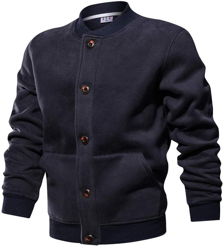 Mens Business Jacket Autumn Winter Leisure Sports Outdoor Baseball Jersey Jacket Coat (color   blueee, Size   2XL)