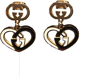 Women's Fashion Earrings Stainless Steel Heart Shape G Leter Pendant 1.5x1