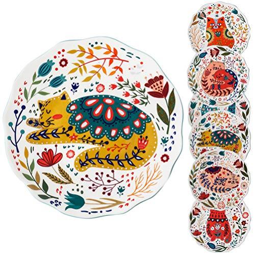 Angoily Plato de Cerámica con Diseño de Gato Floral para Servir Comida Plato de Ensalada de Estilo Japonés Plato de Carne Bandeja de Condimento Decorativa para Snack de Postre