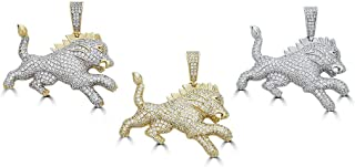 Harlembling Solid 925 Sterling Silver Iced Out African Lion Pendant - Men's - Great for Any Chain! ICY Rasta Leo King Lion
