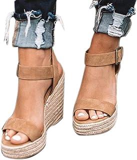 2044050232 Sandalias Mujer Plataforma Cuña Alpargatas Verano Punta Abierta Tacón Alto  10cm Ante Zapato de Playa Mares