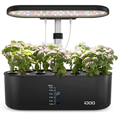 """iDOO Hydroponics Growing System for Window Kitchen, 10Pods Indoor Herb Garden with Grow Light, Plants Germination Kit with Pump, Automatic Timing, Up to 18.7"""""""