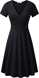 Women's Deep V Neck Short Sleeve Unique Cross Wrap Casual Flared Midi Dress