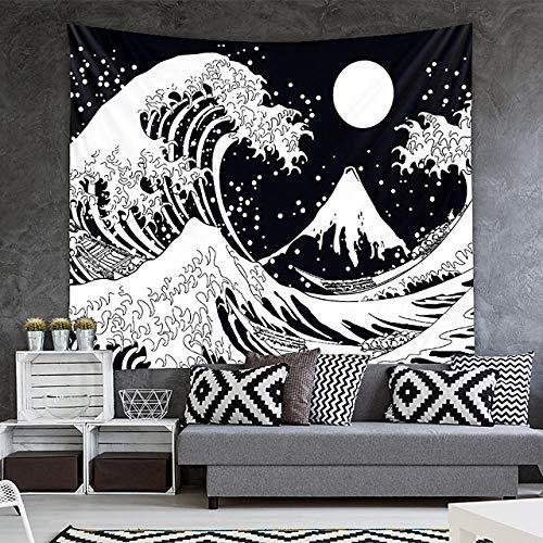 TEDDRA Tapiz de pared con diseño de ondas de luna, color blanco y negro, para colgar en el hogar, dormitorio, sala de estar, dormitorio, poliéster, 150 cm_*_130 cm
