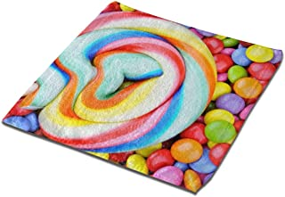 SITU Microfiber Absorbent Washcloth Face Towel,13x13 Inch 1 PCS,Striped Lollipop