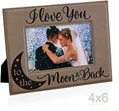 Kate Posh I Love You to The Moon and Back Engraved Leather Frame, Anniversary, Birthdays, New Baby, Wedding Gifts (4x6-Horizontal)