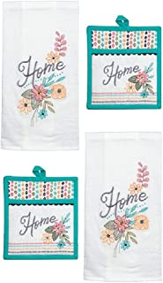 Kay Dee Designs 4 Piece Home Comfort Kitchen Bundle - 2 Embroidered Flour Sack Towels and 2 Embroidered Potholders